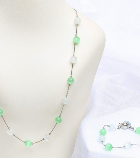 Mint Cats Eye Necklace & Bracelet