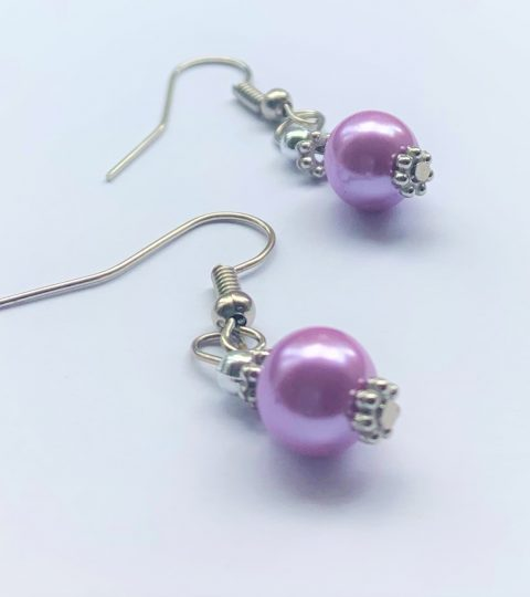 Amethyst Pearl Earrings